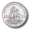 Münze: 25 Cent des Ostkaribischen Dollars (Rückseite)