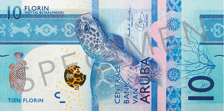 Banknote: 10 Aruba-Florin (Vorderseite)