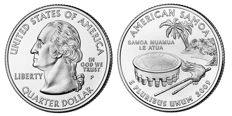 Münze: Viertel-US-Dollar mit Motiven von Amerikanisch-Samoa 2009