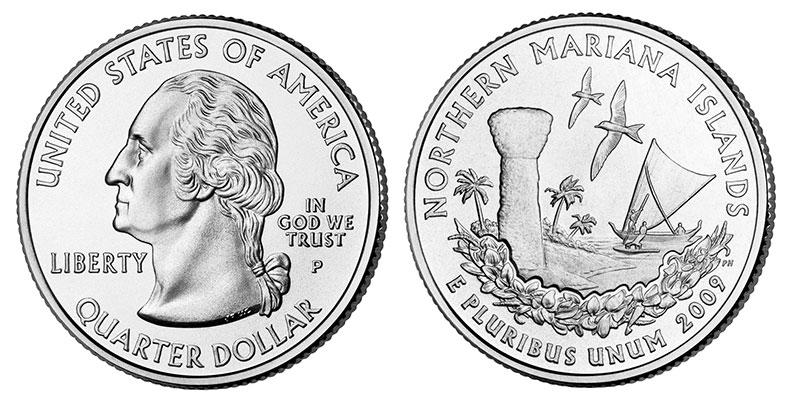 Münze: Viertel-US-Dollar mit Motiven der Nördlichen Marianen 2009