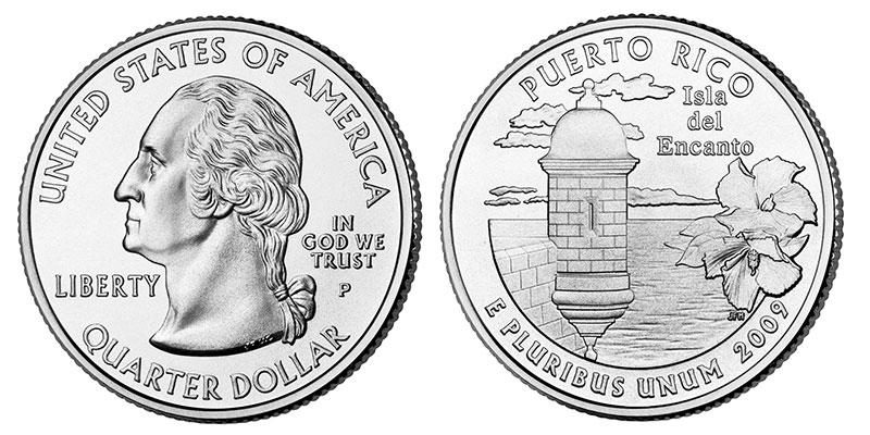 Münze: Viertel-US-Dollar mit Motiven von Puerto Rico 2009