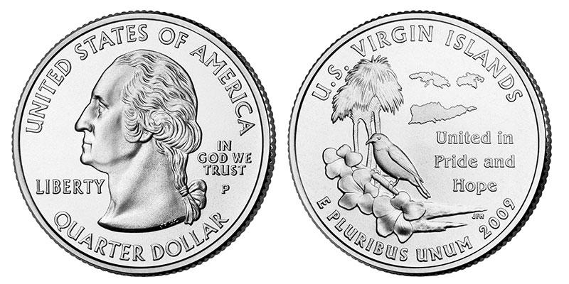 Münze: Viertel-US-Dollar mit Motiven der Amerikanischen Jungfern-Inseln 2009
