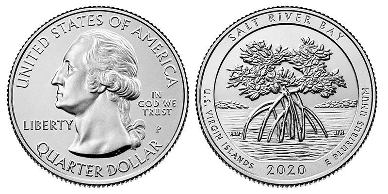 Münze: Viertel-US-Dollar mit Motiven der Amerikanischen Jungfern-Inseln 2020