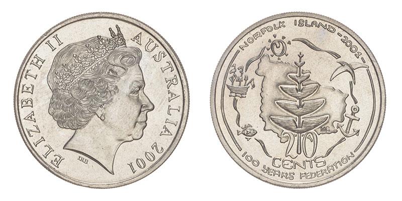 Münze: 20 Australische Cent mit Motiven der Norfolk-Insel