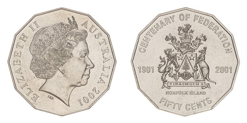 Münze: 50 Australische Cent mit Motiven der Norfolk-Insel