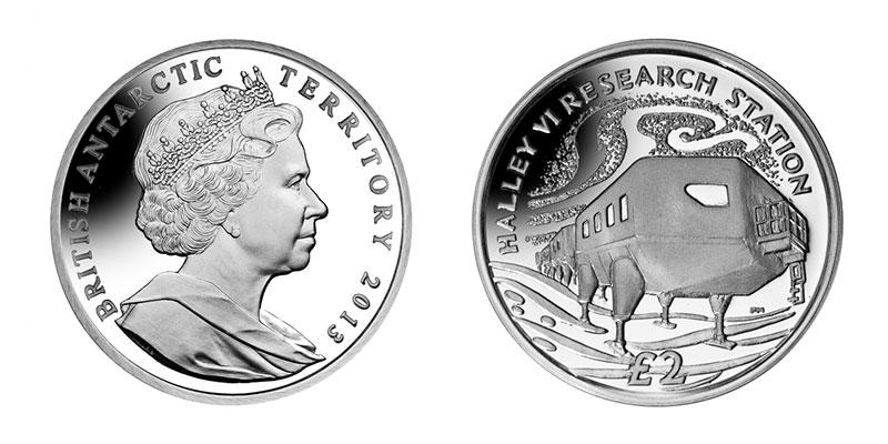 Münze: 2 Britische Pfund bzw. Pfund Sterling mit Motiven des Britischen Antarktis-Territoriums 2013 (exemplarisch)