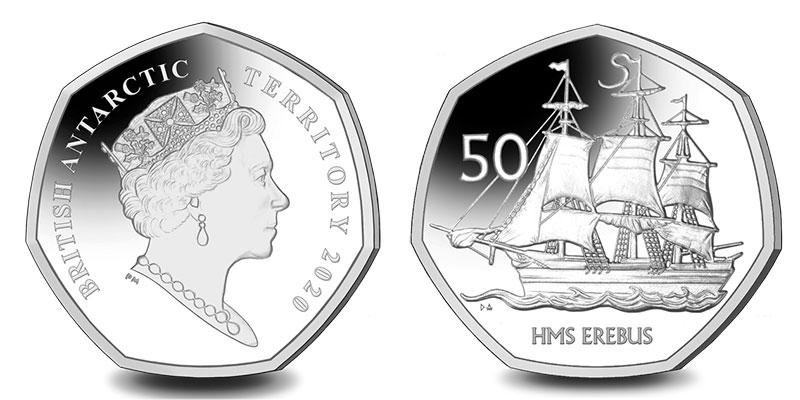 Münze: 50 Pence des Britischen Pfund bzw. Pfund Sterling mit Motiven des Britischen Antarktis-Territoriums 2020 (exemplarisch)