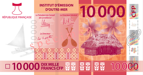 Banknote: 10.000 CFP-Francs (Vorderseite)