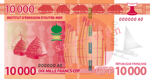 Banknote: 10.000 CFP-Francs (Rückseite)