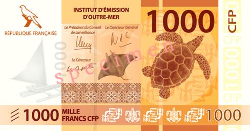 Banknote: 1.000 CFP-Francs (Vorderseite)