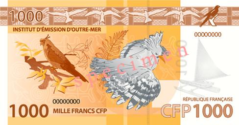 Banknote: 1.000 CFP-Francs (Rückseite)