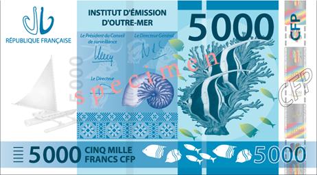 Banknote: 5.000 CFP-Francs (Vorderseite)