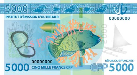Banknote: 5.000 CFP-Francs (Rückseite)
