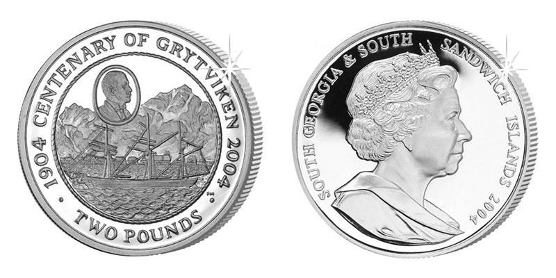 Münze: 2 Britische Pfund bzw. Pfund Sterling mit Motiven von Südgeorgien und Südsandwich-Inseln 2004 (exemplarisch)
