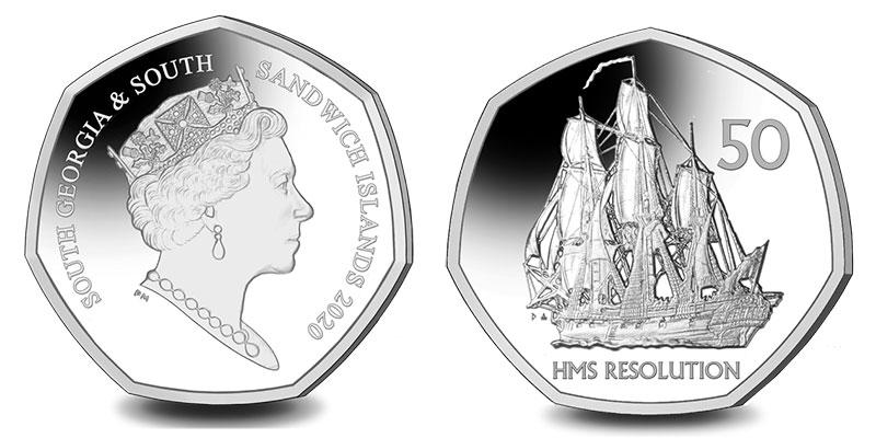 Münze: 50 Pence des Britischen Pfund bzw. Pfund Sterling mit Motiven von Südgeorgien und Südsandwich-Inseln 2020 (exemplarisch)