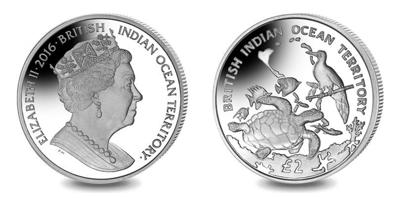 Münze: 2 Britische Pfund bzw. Pfund Sterling mit Motiven des Britischen Territoriums im Indischen Ozean 2016 (exemplarisch)