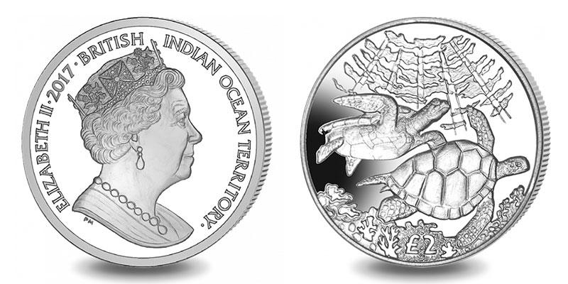 Münze: 2 Britische Pfund bzw. Pfund Sterling mit Motiven des Britischen Territoriums im Indischen Ozean 2017 (exemplarisch)