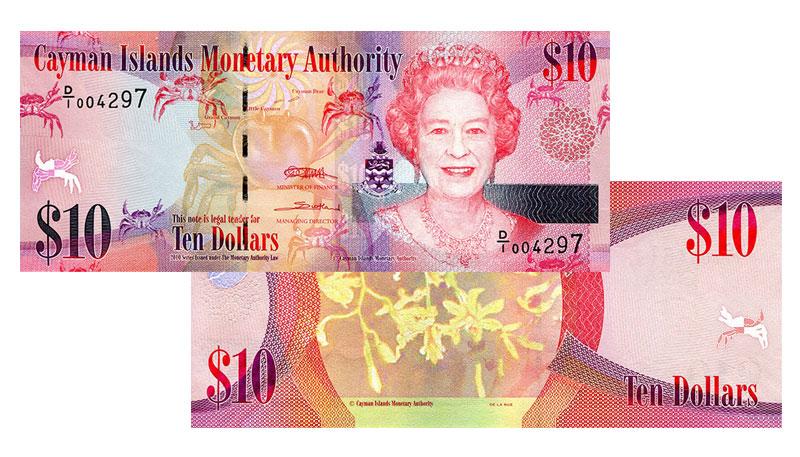 Banknote: 10 Cayman-Dollar bzw. Kaiman-Dollar