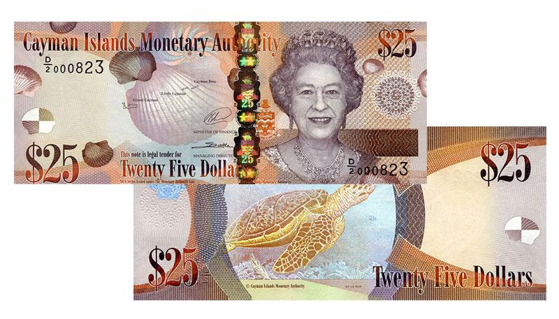 Banknote: 25 Cayman-Dollar bzw. Kaiman-Dollar