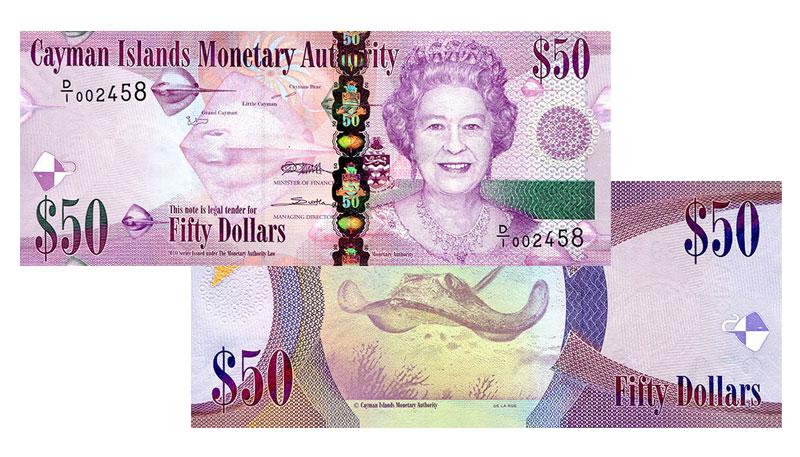 Banknote: 50 Cayman-Dollar bzw. Kaiman-Dollar