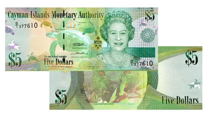 Banknote: 5 Cayman-Dollar bzw. Kaiman-Dollar