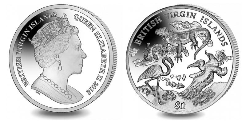 """Münze: 1 """"Dollar der Britischen Jungfern-Inseln"""" 2018 (exemplarisch)"""