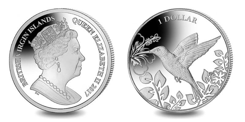 """Münze: 1 """"Dollar der Britischen Jungfern-Inseln"""" 2017 (exemplarisch)"""