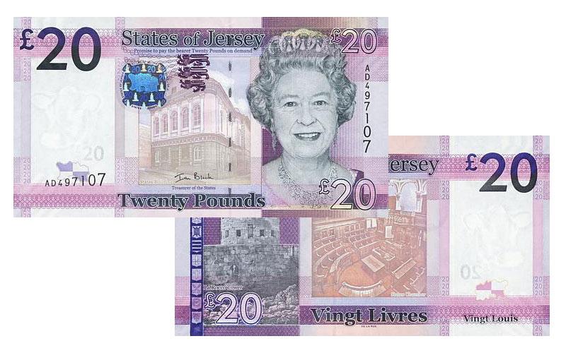 """Banknote: 20 """"Jersey-Pfund"""""""