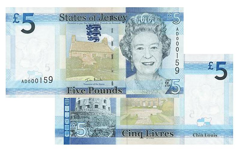 """Banknote: 5 """"Jersey-Pfund"""""""