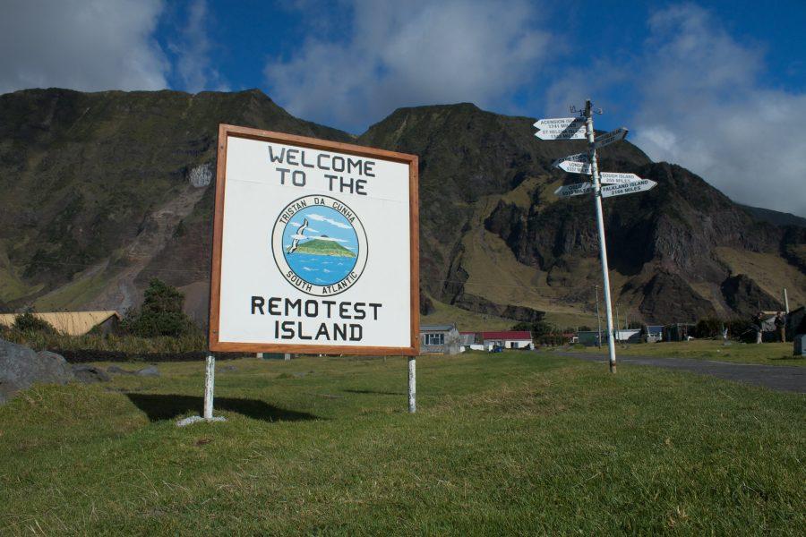 Bild: Willkommensschild auf Tristan da Cunha