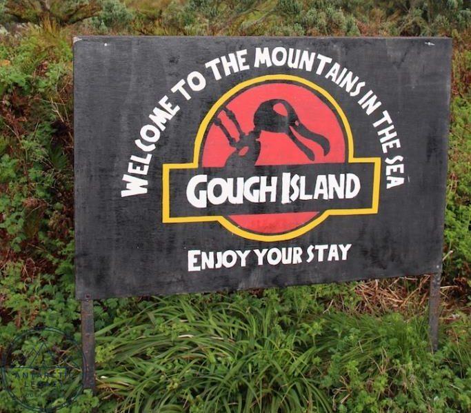 Bild: Willkommensschild auf der Gough-Insel