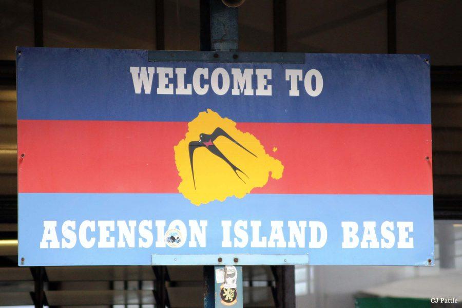 Bild: Willkommensschild auf Ascension