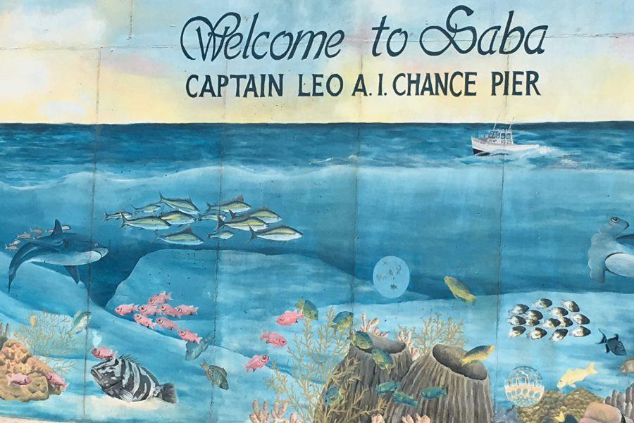 Bild: Willkommensschriftzug auf Saba
