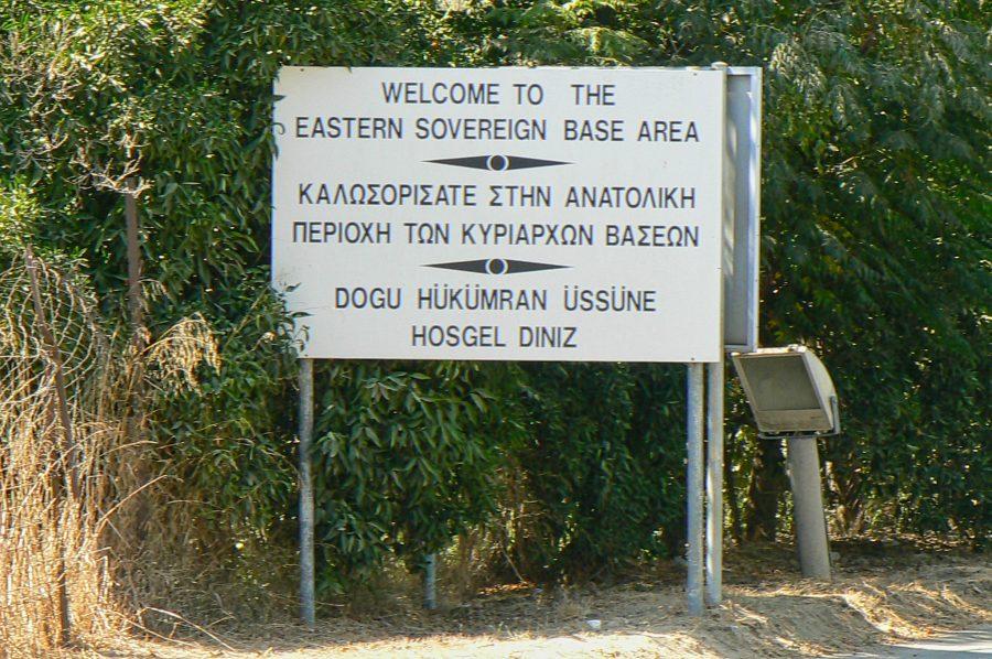 Bild: Willkommensschild in der Östlichen Souveränen Militärbasis Dhekelia