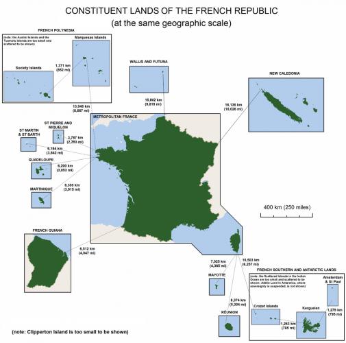 Karte: Bestandteile der Französischen Republik
