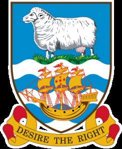 Detailansicht des Flaggenbadges (s. Wappen): Falkland-Inseln