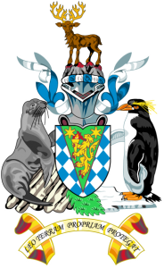 Detailansicht des Flaggenbadges (s. Wappen: Südgeorgien und Südsandwich-Inseln