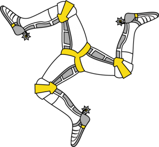 Detailansicht des Flaggenbadges: Insel Man