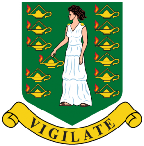 Detailansicht des Flaggenbadge (s. Wappen): Britische Jungfern-Inseln